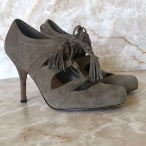 Plenty by Tracy Reese suede lace up heels